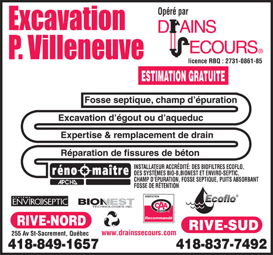 Ads Excavation P Villeneuve Enr
