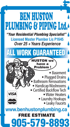 Ads Ben Huston Plumbing & Piping Ltd