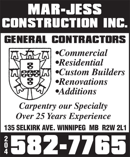 Ads Mar-Jess Construction Inc