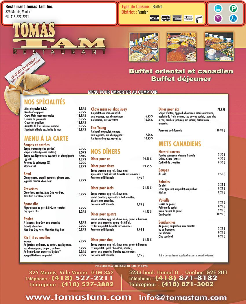 menu Restaurant Tomas Tam Inc