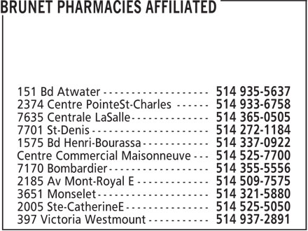 Ads Brunet Pharmacies Affiliated