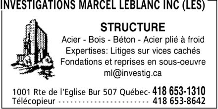 Ads Investigations Marcel LeBlanc Inc (Les)