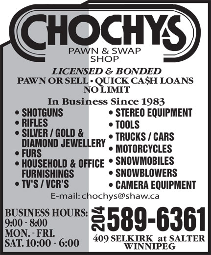 Ads Chochy's Pawn & Swap Shop