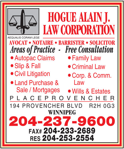 Ads Hogue Alain J Law Corporation