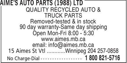 Ads Aime&#039;s Auto Parts (1988) Ltd