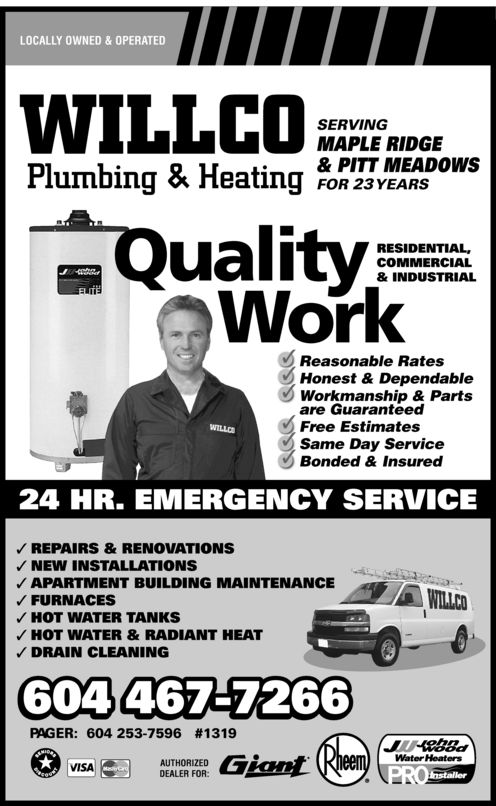 Ads Willco Plumbing & Heating - Pager