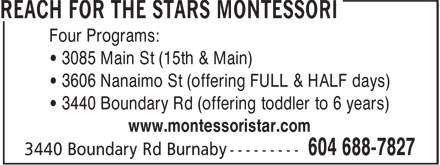 Ads Reach For The Stars Montessori