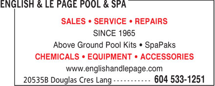 Ads English & Le Page Pool & Spa
