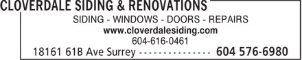 Ads Cloverdale Siding & Renovations