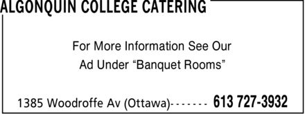 Ads Algonquin College Catering