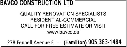 Ads Bavco Construction Ltd