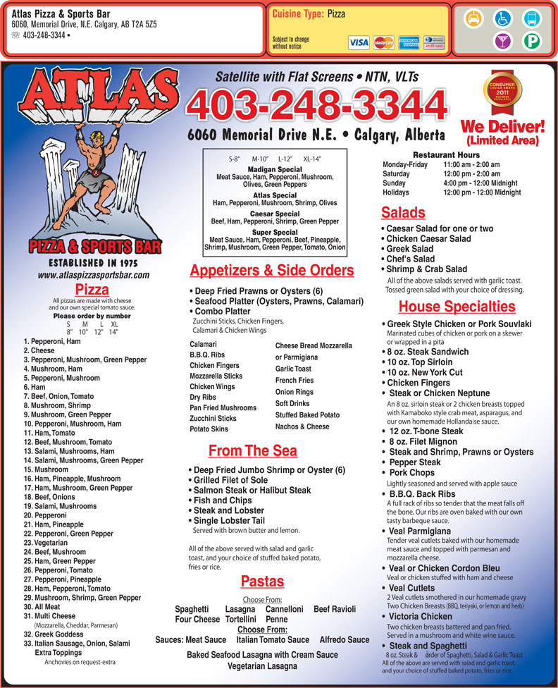 menu Atlas Pizza & Sports Bar