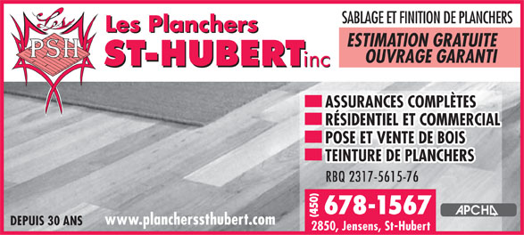 Ads Les Planchers St-Hubert Inc