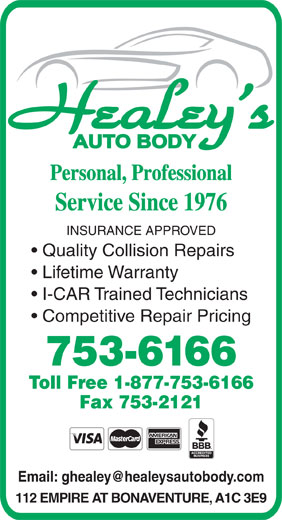 Ads Healey&#039;s Auto Body Shop Ltd
