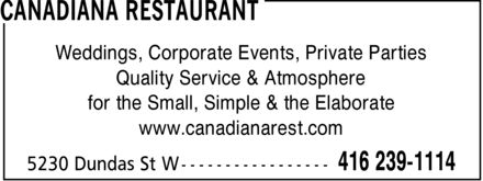 Ads Canadiana Restaurant