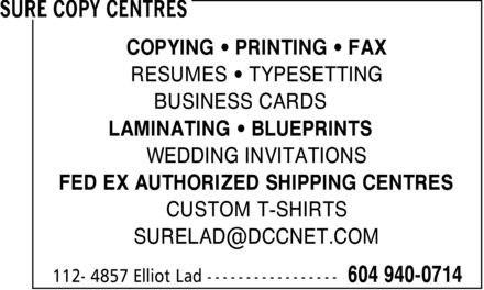 Ads Sure Copy Centres - Ladner