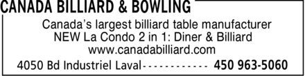 Ads Canada Billiard & Bowling Inc