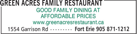 Ads Green Acres Family Restaurant