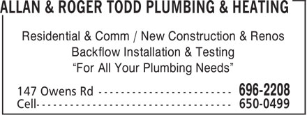 Ads Allan & Roger Todd Plumbing & Heating