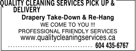 Ads Quality Cleaning Services Pick Up & Delivery