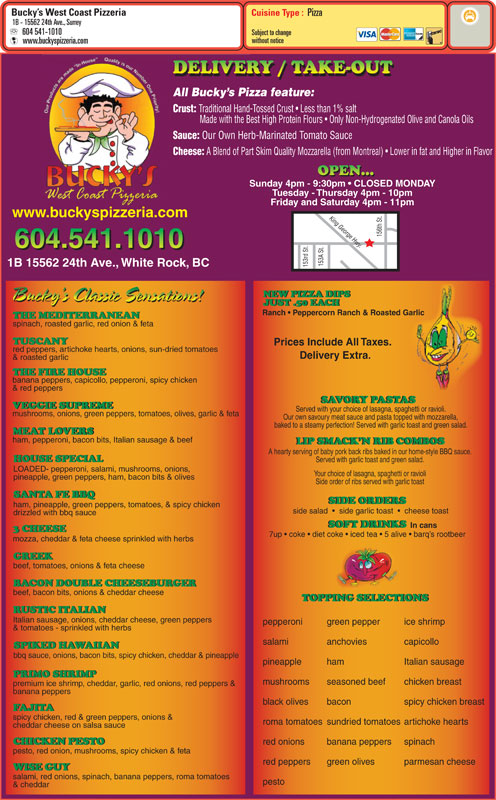 menu Bucky's West Coast Pizzeria