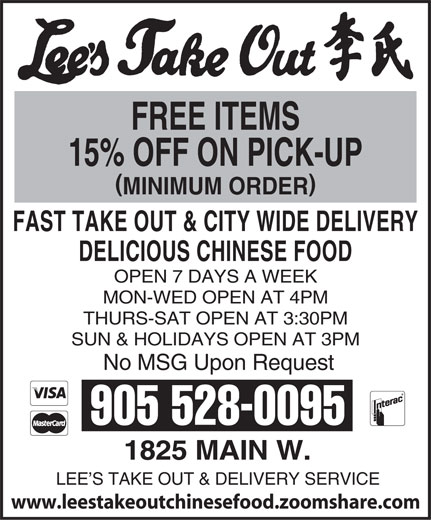 Ads Lee's Take Out & Delivery Service