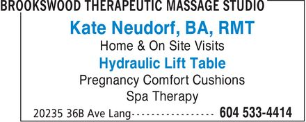 Ads Brookswood Therapeutic Massage Studio