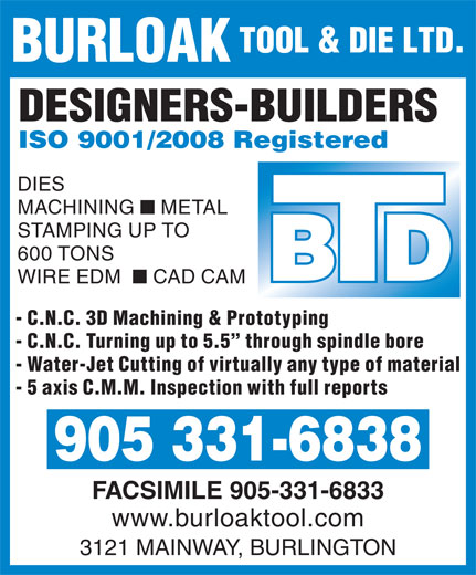 Ads Burloak Tool & Die Ltd