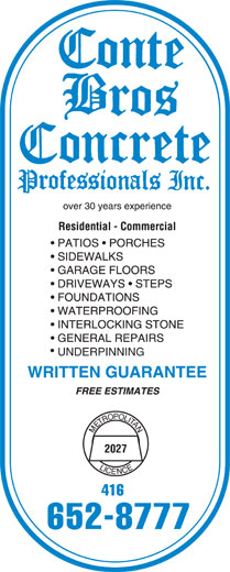 Ads Conte Bros Concrete Professionals Inc