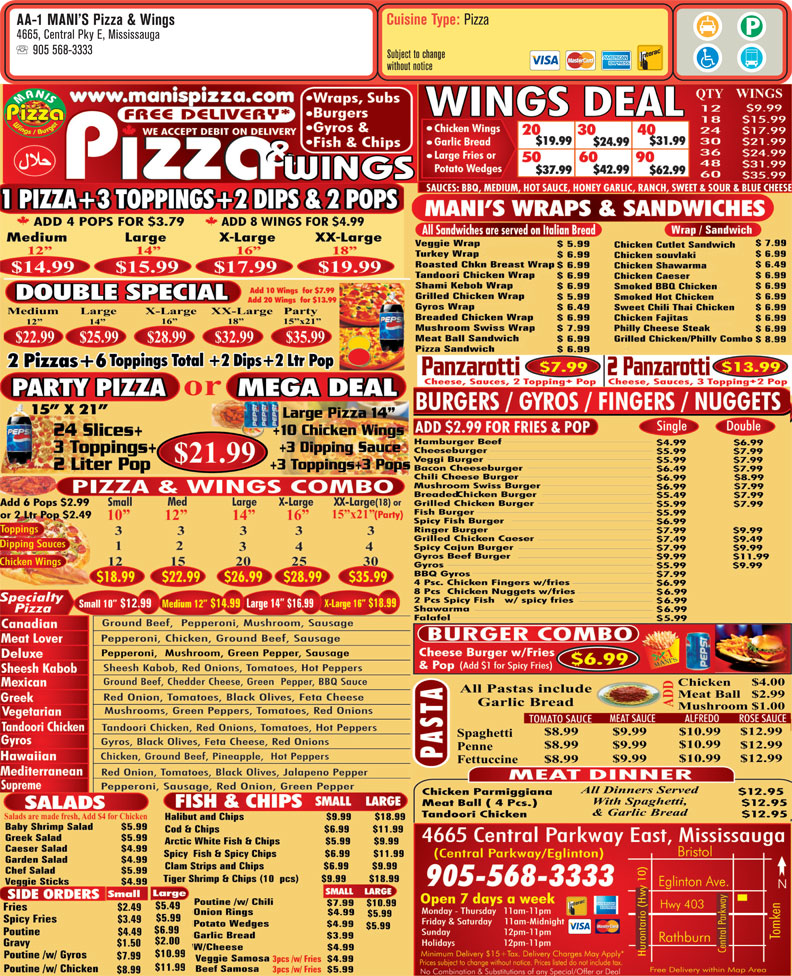 Ads Aa-1 Mani's Pizza & Wings