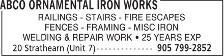 Ads Abco Ornamental Iron Works