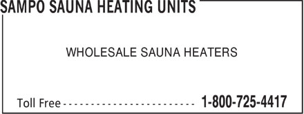 Ads Sampo Sauna Heating Units