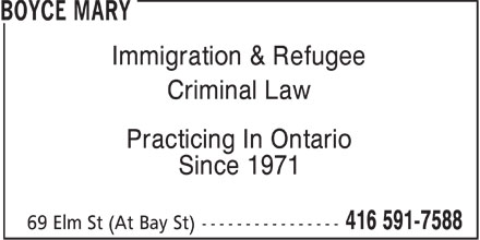 Ads Boyce Mary - Immigration &amp; Refugee