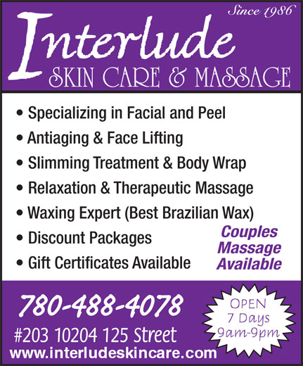 Ads Interlude Skin Care & Massage Therapy