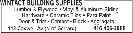Ads Wintact Building Supplies