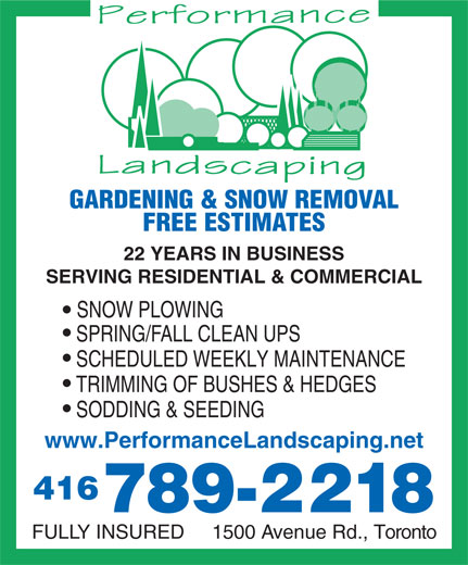 Ads Performance Landscaping Gardening &amp; SnowRemoval