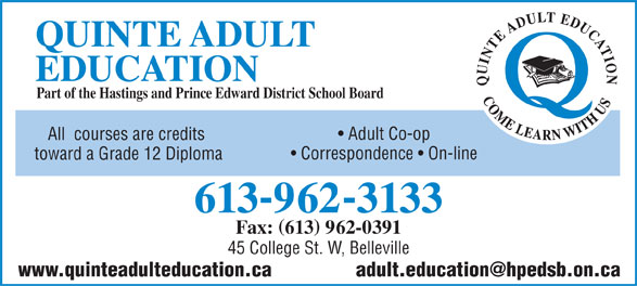 Ads Quinte Adult Education
