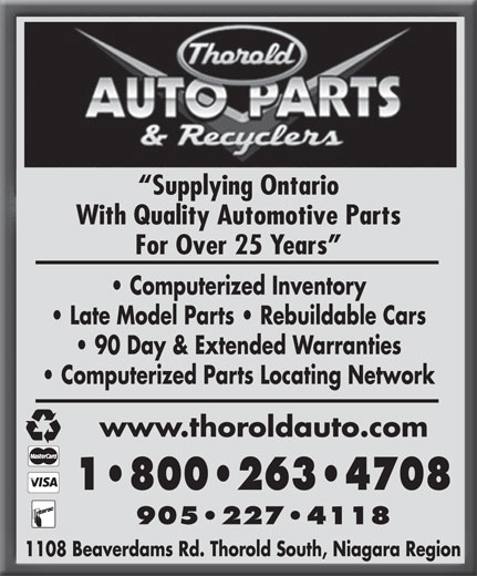 Ads Thorold Auto Parts & Recyclers