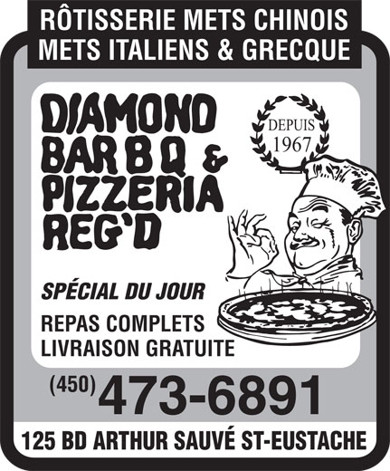 Ads Diamond Bar B Q &amp; Pizzeria Reg&#039;d