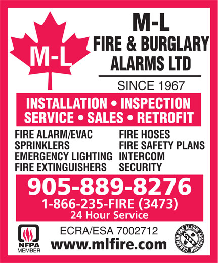 Ads M-L Fire &amp; Burglary Alarms