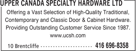 Ads Upper Canada Specialty Hardware Ltd