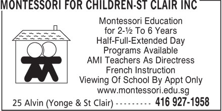 Ads Montessori For Children-St Clair Inc