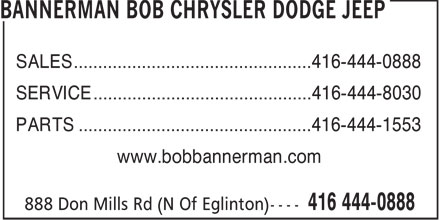 Ads Bannerman Bob Chrysler Dodge Jeep - Service
