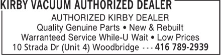 Ads Kirby Vacuum Authorized Dealer