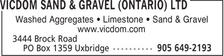 Ads Vicdom Sand & Gravel (Ontario) Ltd