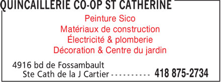 Ads Quincaillerie Co-Op St Catherine
