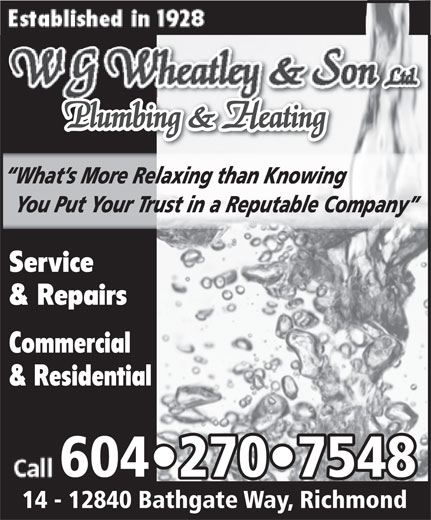 Ads Wheatley W G & Son Plumbing & Heating