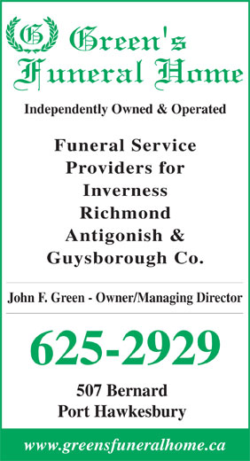 Ads Green's Funeral Home