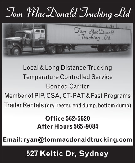 Ads MacDonald Tom Trucking Ltd