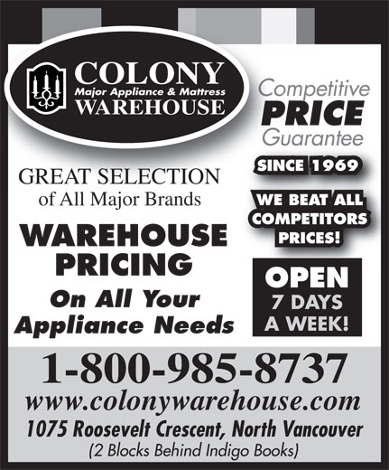 Ads Colony Major Appliance &amp; Mattress Warehouse
